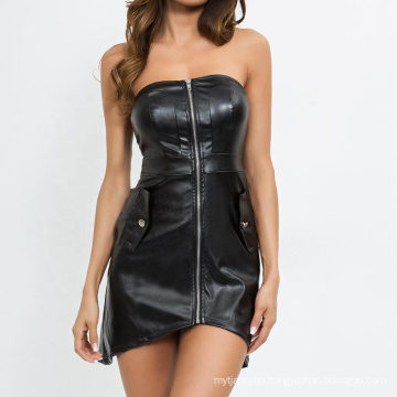 Sexy PU Strapless Bodycon Zipper Backless Faux Leather