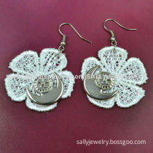 White embroidered flower lace earrings, decorated with alloy anchor for party/OEM/ODM are welcome