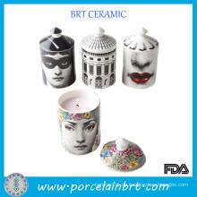 Kundenspezifische Mode-Druck-Kerze-Glas mit Deckel