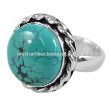 Schöner tibetischer Türkis Edelstein 925 Sterling Silber Ring