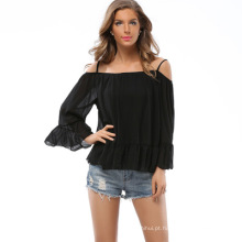Os recém-chegados moda corte blusa design sexy lady blusa de chiffon sol-top