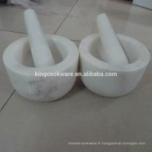 mortier et pilon en marbre blanc pierre naturelle