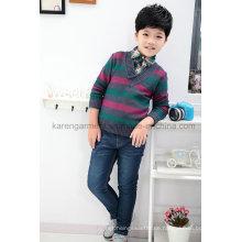Kinder Langarm-Pullover mit Schalkragen und V-Ausschnitt