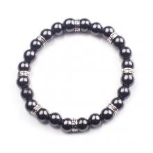 Hematite 8mm Beaded Bracelet Charm Stainless Steel Alloy Bracelet for Men