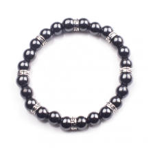 Hematite 8mm Beaded Bracelet Charm Stainless Steel Alloy Bracelet for Men