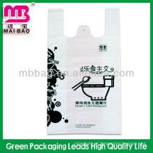 Sacos de supermercado de t-shirt poli plástico reutilizável para fazer compras