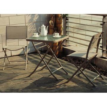 Outdoor textilene furniture 3pc sling chat set-folding chair
