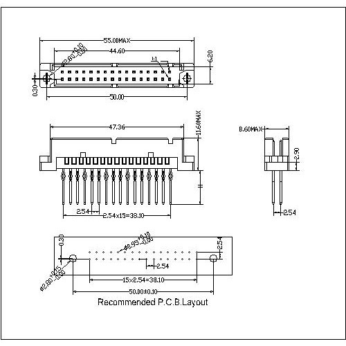 DMS-XX-XXX-212 Vertical Plug Type Half Q Compliant Press-Fit Connectors 32 Positions-Model