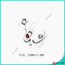 Breloque en lapin en alliage de zinc plaqué chrome argent (SPE)