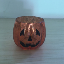 Halloween Amber Mercury Glass Votive Candle Holders