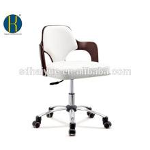 Mobília de escritório de madeira sintética branca de couro marrom elegante