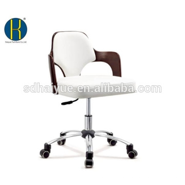 Elegant brown wooden white synthetic leather office furniture