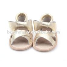 Sandalias hechas a mano del bebé del cuero genuino del nuevo bebé del verano de encargo