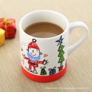 200cc ceramic children cup with non-slip silicone base