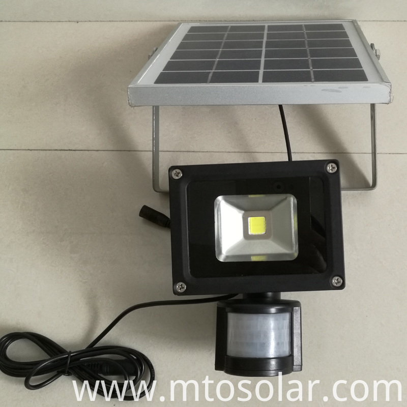Motion sensor solar flood light