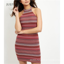 Guangzhou OEM Red Zig Zag Crochet Bodycon Mini Dress