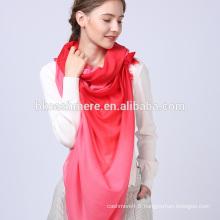 2017 femmes luxe melon d'eau rouge couleur dégradé tricot écharpe 100% laine