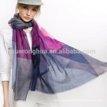 100% lã de lenço de lã solúvel em lã de lã em padrão xadrez para senhoras