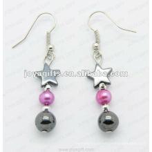 Magnetische Hämatit-Stern-Perlen-Ohrringe