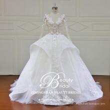 Design de moda mais recente no atacado de luxo e vestido de noiva sofisticado sexy ver através de vestido de noiva de vestido de bola corpete 2017