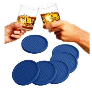 Large Modern Soft Rubber Coaster Blue Reusable