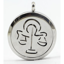 Libra 30mm Rd Stainless Steel Perfume Diffuser Locket Pendant