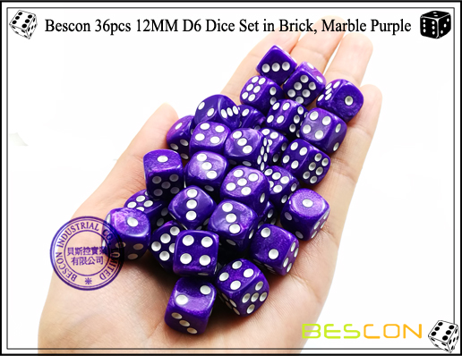 Bescon 36pcs 12MM D6 Dice Set in Brick, Marble Purple-4