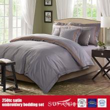 Roupa de cama da qualidade do linho da coleção do hotel do bordado do cetim do algodão 250TC