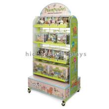 Revestimento de madeira de metal Produtos de brinquedos para animais de crianças Loja de varejo 4-Wheel Movable Toy Show Display Stand