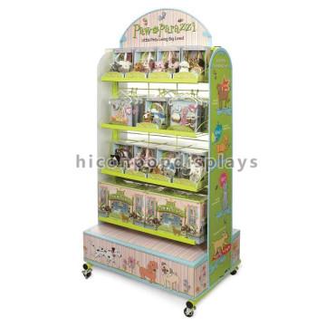 Holz-Metall-Bodenbelag Kinder Tier Spielzeug Produkte Einzelhandel Shop 4-Rad beweglichen Spielzeug Show Display Stand