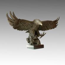 Décoration d'animaux Bronze Jardin Sculpture Statue en laiton Big Eagle Tpal-033