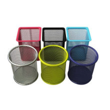 Round Square colorful office mesh pen pencil holder