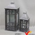 Quadratische Glaspaneele Plated Silver Top Hölzerne Kerze Halter Set