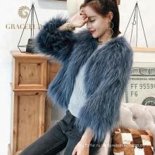 Привлекательная леди реальный енота мех пальто