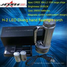 JEXREE дайвинг мощный светодиодный фонарик привели дайвинг фонарик 4 * кри ручного света