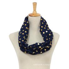 Женская Весна Лето Золотая фольга DOT печать шарф Снуд (SW146)