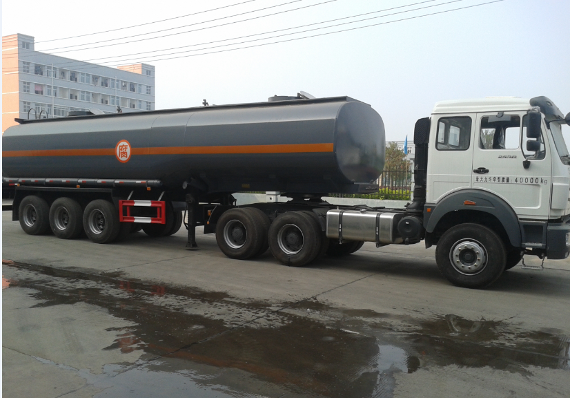 BEIBEN tractor truck with hydrochloric acid tanker
