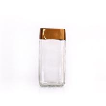 Custom 14oz 420ml Coffee Jar Square Glass Jars With Custom Label Black Lids