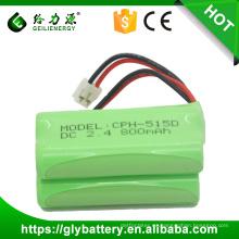 Geilienergy venta caliente NIMH AAA 2.4v 800mah teléfono inalámbrico batería recargable