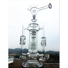 2016 más nuevo hélice flauta pipa de agua pipa de fumar desmontable pipa de agua suiza perca de agua en línea ducha cabezal doblado tubería de agua de vidrio