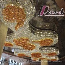 De boa qualidade Candelabro de cristal decorativo moderno ambarino do projeto do hotel