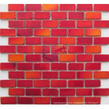 Cool Paving Red Crystal Matt Face Brick Glass Mosaic (CFC612)