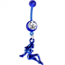 Bioplast Blue Mud Flap Girl Dangle Belly Ring