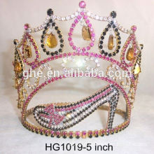 new design crown tiaras princess romantic bridal tiara shocking pink hair accessories bridal tiara gypsum crown moulding