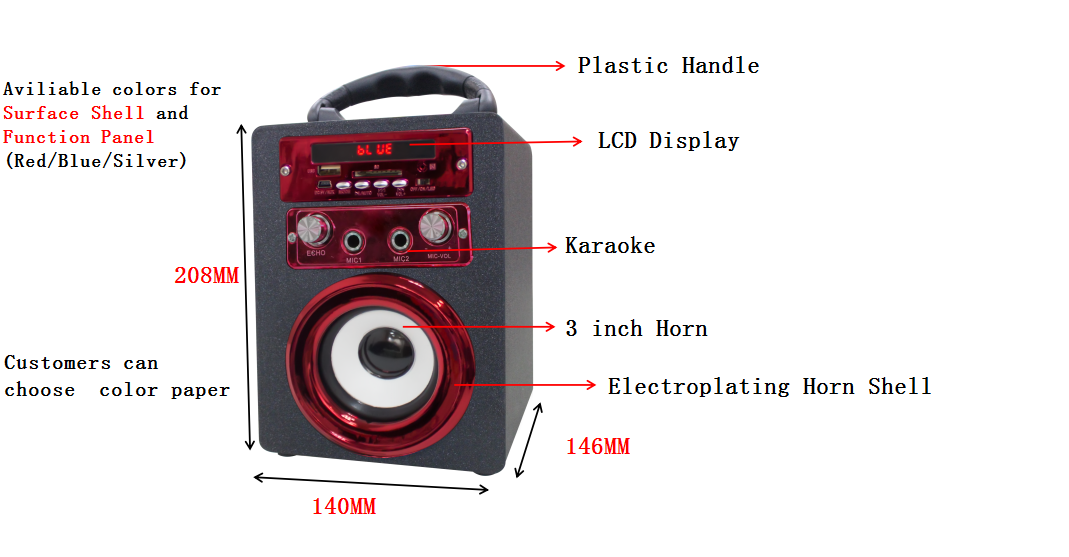 portable karaoke wireless bluetooth speaker with SD/FM