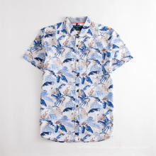 Camisa de verão casual havaiana masculina estampada