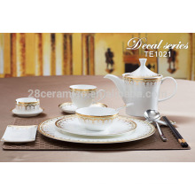 restaurant tableware with gold decal , special cutlery sets