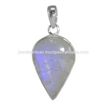 Piedra natural de la piedra lunar del arco iris 925 joyería pendiente de la plata esterlina