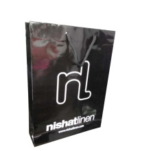 Black Color Paper Shopping Gift Bag with Glossy Lamination