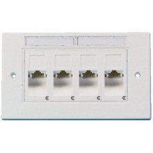 Ftth ethernet 3m amp rj45 plaque frontale 4 ports, connecteur rj45 4 ports plaque plastique